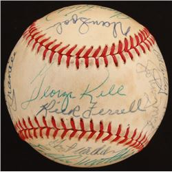 Baseball Hall of Famers OAL Baseball Signed by (21) with Mickey Mantle, Joe DiMaggio, Willie Mays, H