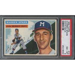 1956 Topps #10 Warren Spahn - White Back (PSA 8)