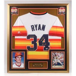 "Nolan Ryan Signed Houston Astros 32x36 Custom Framed Jersey Display Inscribed ""342 Wins"", ""5,714 K's"