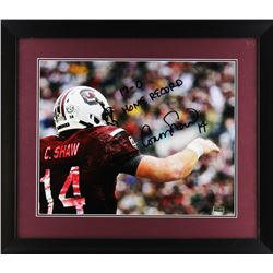 "Connor Shaw Signed South Carolina Gamecocks 23x27 Custom Framed Photo Display Inscribed ""17-0 Home R"