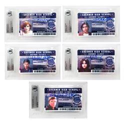 "Lot of (5) ""The Breakfast Club"" Signed Shermer High School ID Cards with Emilio Estevez, Molly Ringw"