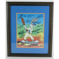 500 HR Club Bugs Bunny 18x22 Custom Framed Animation Cell Signed by (11) with Hank Aaron, Willie May