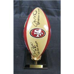 Joe Montana  Jerry Rice Signed San Francisco 49ers Danbury Mint Super Bowl Porcelain Football Trophy