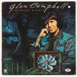 "Glen Campbell Signed ""Southern Nights"" Vinyl Record Album Cover (PSA COA)"