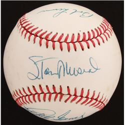 Hall of Famers OAL Baseball Signed by (7) with Stan Musial, Warren Spahn, Bob Lemon, Lefty Gomez (Be
