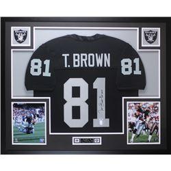 """Tim Brown Signed 35x43 Custom Framed Jersey Display Inscribed """"HOF 2015"""" (PSA COA  Brown Hologram)"""