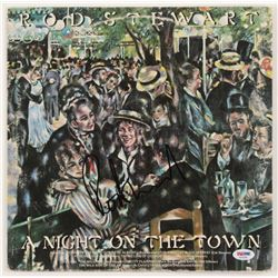 """Rod Stewart Signed """"A Night On The Town"""" Vinyl Record Album Cover (PSA Hologram)"""