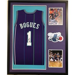 Muggsy Bogues Signed 34x42 Custom Framed Jersey (JSA COA)