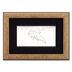 "Wyland Signed ""Dolphin"" 18x13 Custom Framed Original Sketch"