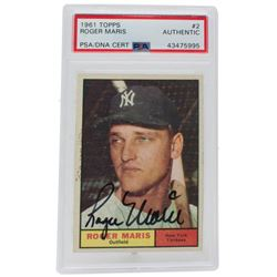Roger Maris Signed 1961 Topps #2 (PSA Encapsulated)