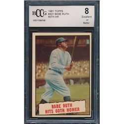 1961 Topps #401 Babe Ruth 60th HR (BCCG 8)