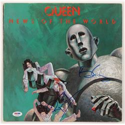 """Brian May  Roger Taylor Signed Queen """"News of the World"""" Vinyl Record Album Cover (PSA COA)"""