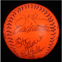 1980s Hall of Famers Baseball Signed by (16) with Enos Slaughter, Ted Williams, Ralph Kiner, Duke Sn