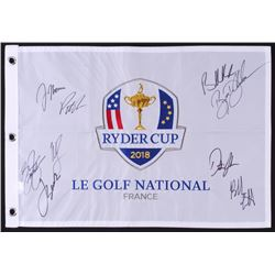 Ryder Cup Golf Pin Flag Signed by (9) with Brooks Koepka, Jordan Spieth, Dustin Johnson, Justin Thom