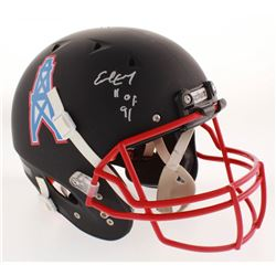 """Earl Campbell Signed Houston Oilers Full-Size Matte Black Authentic On-Field Helmet Inscribed """"HOF 9"""