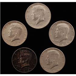 Lot of (5) 1964-D Kennedy Silver Half-Dollars