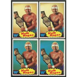 Lot of (4) 1985 Topps WWF Hulk Hogan Cards with (2) #1  (2) #16