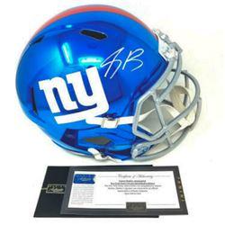 Saquon Barkley Signed New York Giants Full-Size Chrome Speed Helmet (Panini COA)
