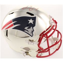 Sony Michel Signed New England Patriots Full-Size Chrome Speed Helmet (Beckett COA)