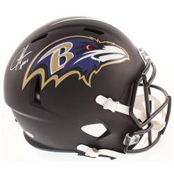 Justice Hill Signed Baltimore Ravens Matte Black Full-Size Speed Helmet (Beckett COA)