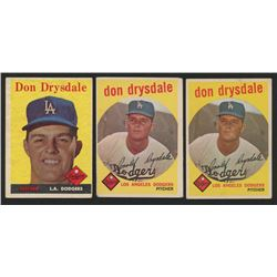 Lot of (3) Don Drysdale Baseball Cards with 1958 Topps #25  (2) 1959 Topps #387