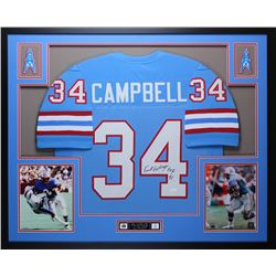 "Earl Campbell Signed 35x43 Custom Framed Jersey Inscribed ""HOF 91"" (JSA COA)"