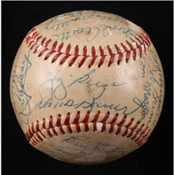 1955 New York Yankees OAL Baseball Team-Signed by (29) with Yogi Berra, Mickey Mantle, Whitey Ford,