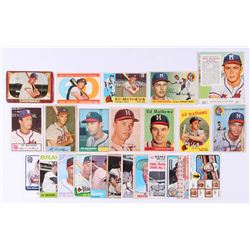 Lot of (24) Eddie Mathews Baseball Cards with 1973 Topps #237A Eddie Mathews MG / Lew Burdette CO /