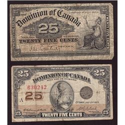 2x Canada 25 Cent Shinplasters 1900 and 1923