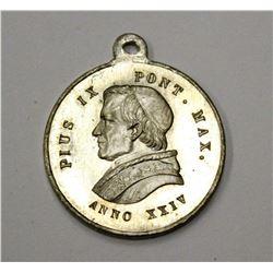 Vatican Pope Pius IX 1869 Ecumenical Council Token 23.7 x 27.5mm Silver Medal