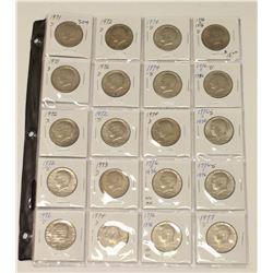 Full Sheet of 20x USA 1971-77 JFK Kennedy Half Dollar 50 Cent Coins