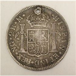 1813 Guatemala 2 Reales Silver Coin with hole