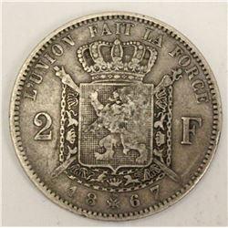 Belgium 1867 2 Francs Silver Coin