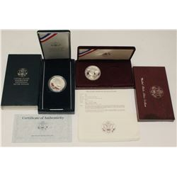 United States Mint Proof Silver Dollars Coins x2 1983 LA Olympics & 1990 Eisenhower with boxes & COA