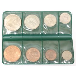 Ireland Republic 1966 8 coin UNC set in green wallet (Farthing to 1/2 Crown) High Grade