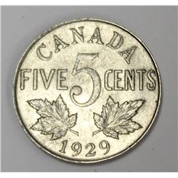 1929 Canada 5 Cent Key Date Nickel Coin