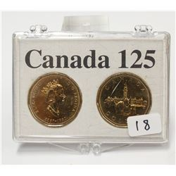 Canada 125th Commemorative 2x $1.00 Dollar Coin Set with Case