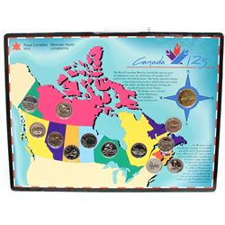 Canada 125 13x Coins Provincial Quarter Map Set with Loonie