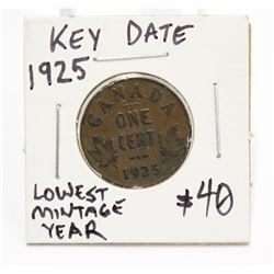 1925 Canada One Cent Key Date Coin