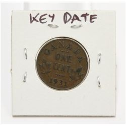 1931 Canada One Cent Key Date Coin