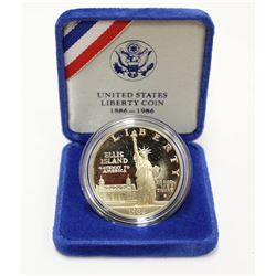 1986 United States Silver Proof One Dollar Coin Ellis Island Commemorative with Box