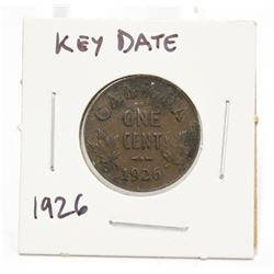 1926 Canada One Cent Key Date Coin