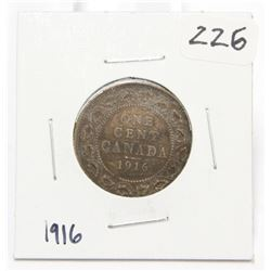 1916 Canada Large One Cent Coin King George V