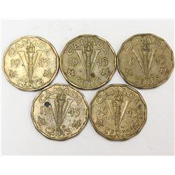 5x 1943 Canada World War II Tombac V 5 Cent Coins