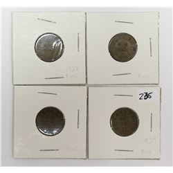 1928 & 1929 Canada Small One Cent Coins Key Dates x4