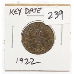 1922 Canada Small One Cent Coin Key Date