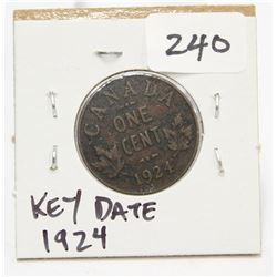 1924 Canada Small One Cent Coin Key Date