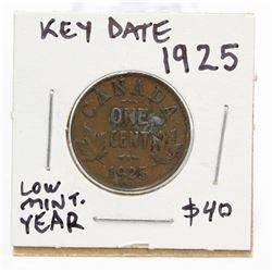 1925 Canada Small One Cent Coin Key Date
