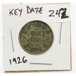 1926 Canada Small One Cent Coin Key Date