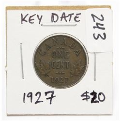 1927 Canada Small One Cent Coin Key Date